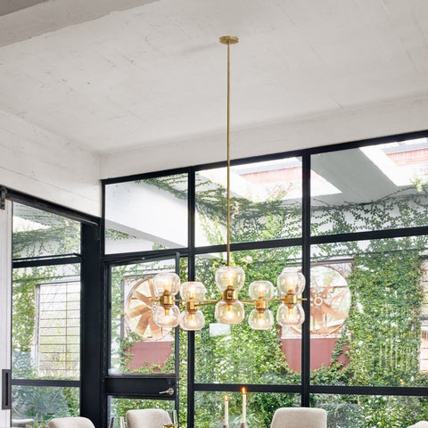 Oliver Chandelier - Radial bubble glass seated globe iron gold leaf frame modern front view