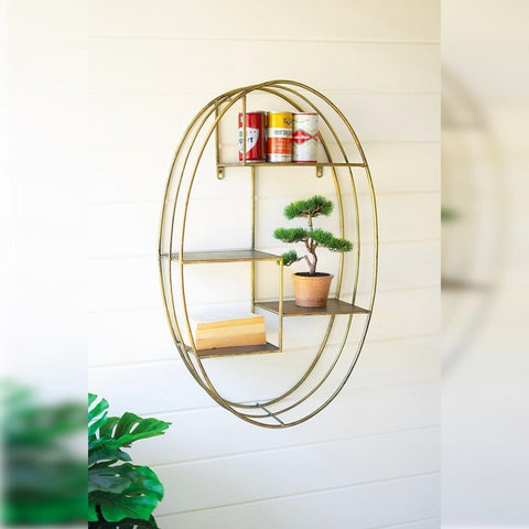 Onda Shelf metal gold frame wall shelf