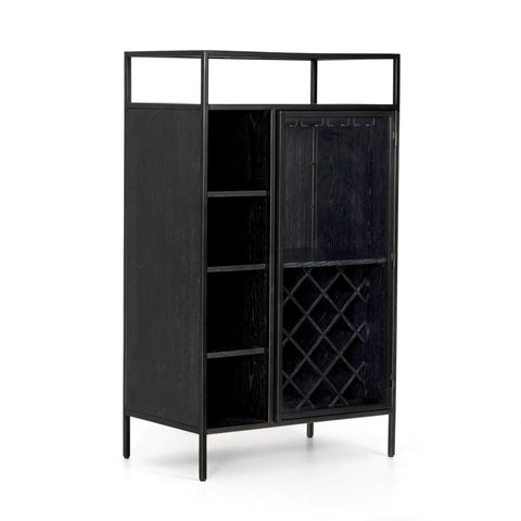 Orion Bar Cabinet oak wood iron black