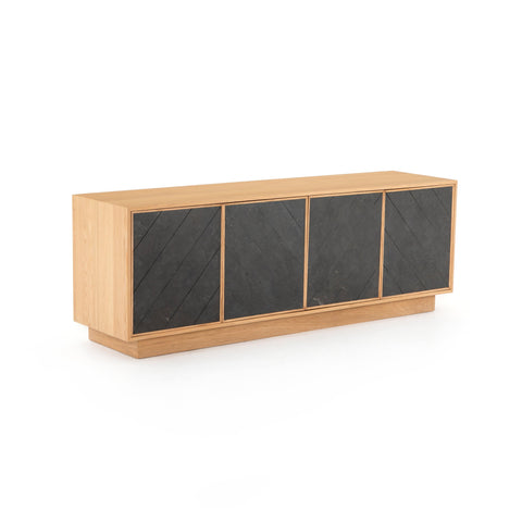 Orla Sideboard made of oak wood frame and bluestone cabinets