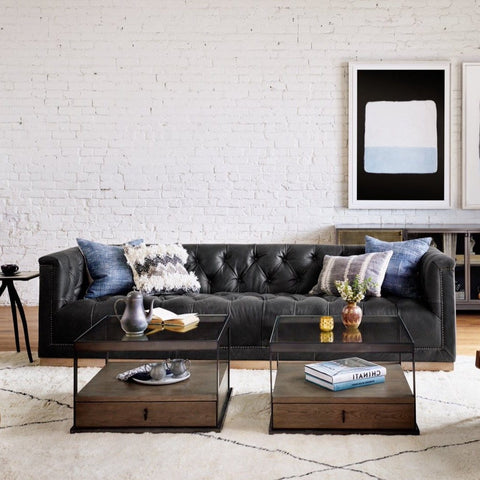 "parker 95"" black distressed leather tufted sofa"