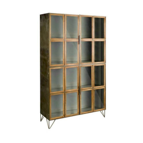 Pendle Cabinet comes in Harbor Grey metal and Rustic Brown wood accents