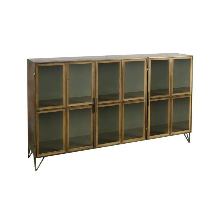 Pendle Sideboard comes in Harbor Grey metal and Rustic Brown wood accents