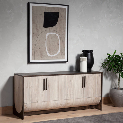 Perth Sideboard made of iron and oak wood in Distressed Iron and Bleached Cream