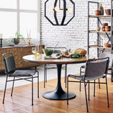 Peyton Dining Table tulip table cast iron base Brass Clad English Oak Bluestone Marble