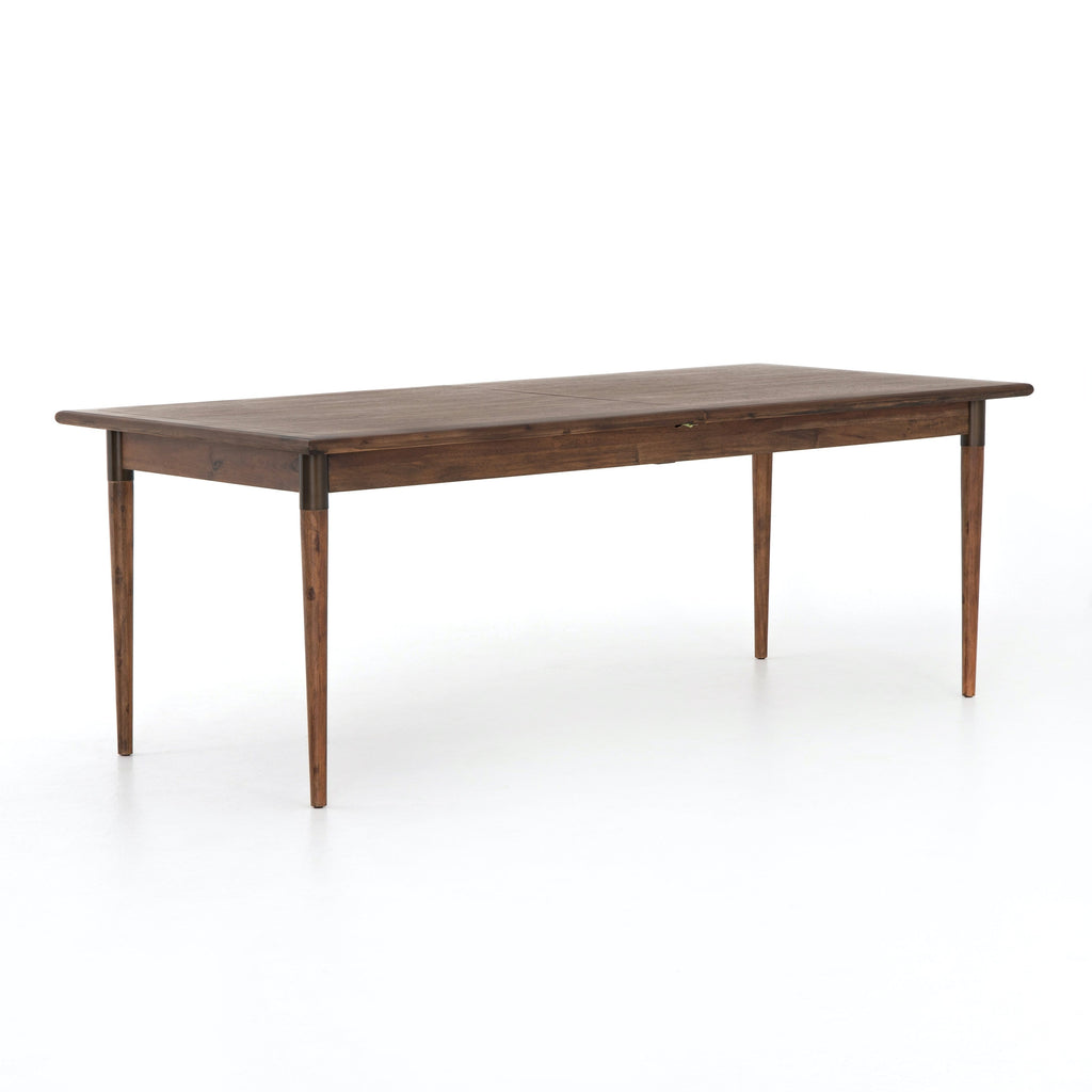 "Picabo Extension Dining Table 84""-104"" veneer top/legs iron details walnut brown finish"
