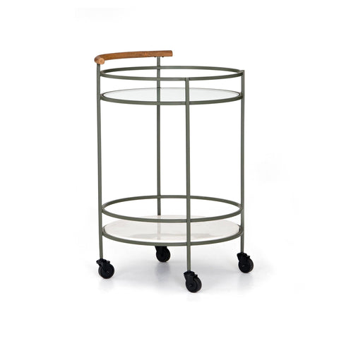Pima Bar Cart made of sage green Iron and white Marble with Acacia Wood handle with Glass