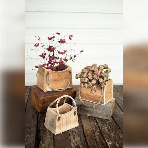 Purse Planters recycled wood indoor outdoor brown
