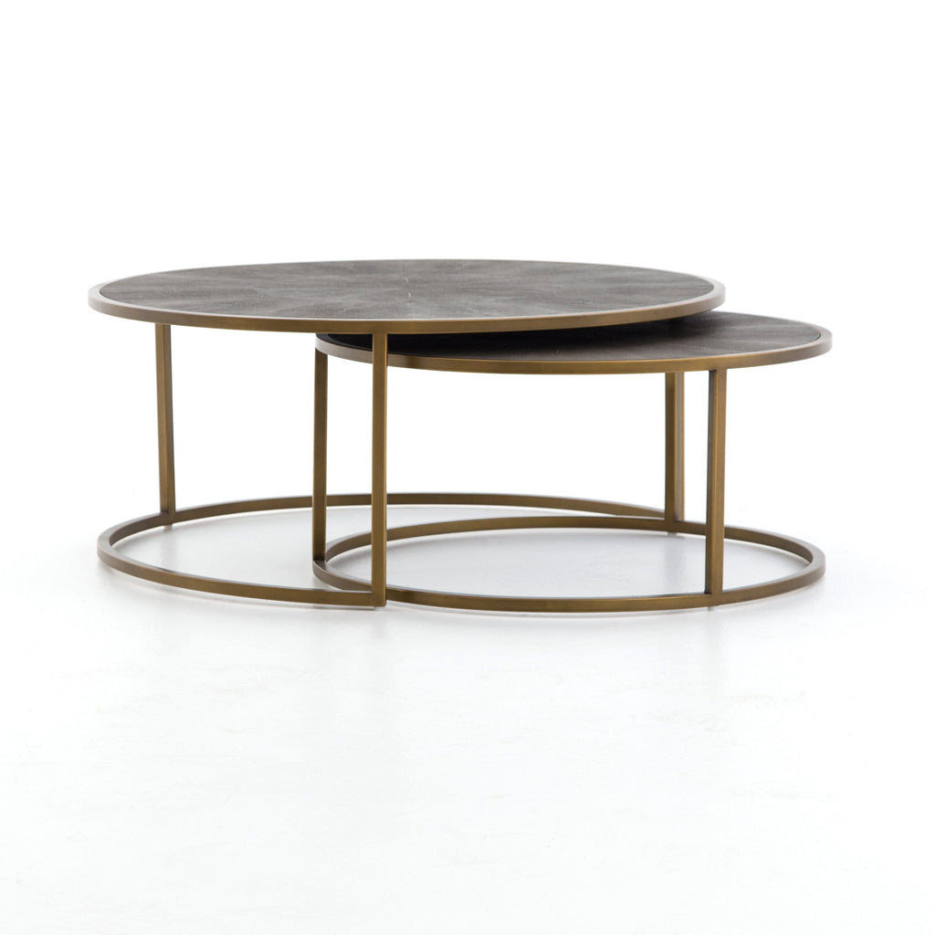 Ream Shagreen Nesting Table antique brass side view