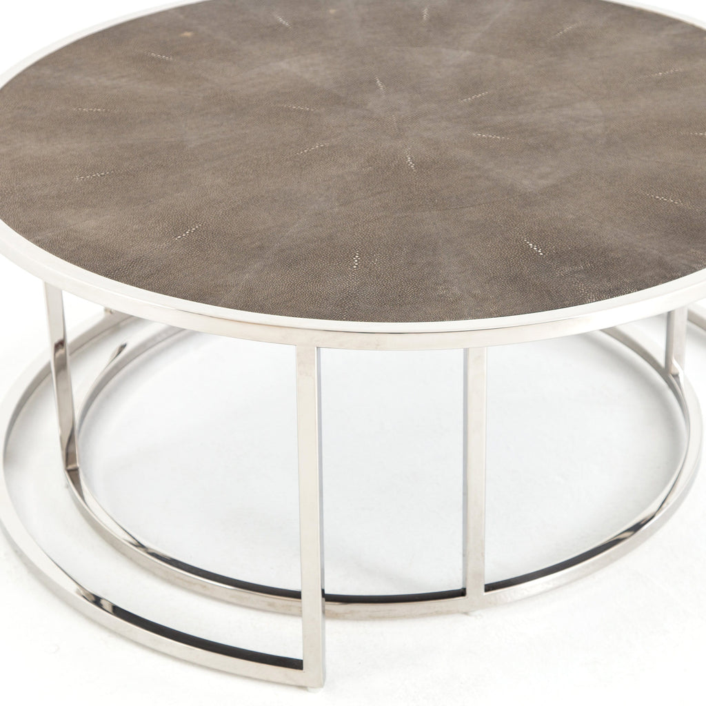 Ream Shagreen Nesting Table chrome closed view