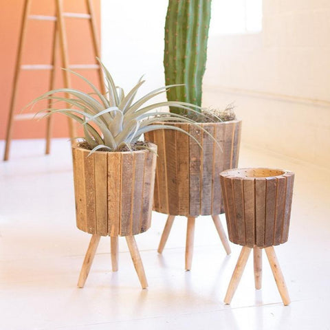 The Recycled Wooden Planters made of natural brown wood made in haiti