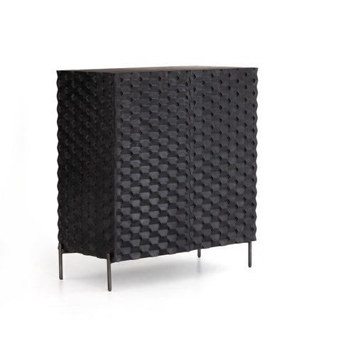 Relm Bar Cabinet made of ebony black Mango Wood and Iron frame in gunmetal finish