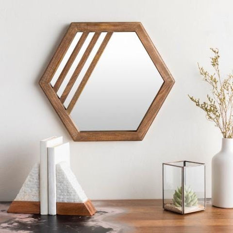 Riad Mirror trendy brown wood frame hexagon wall product