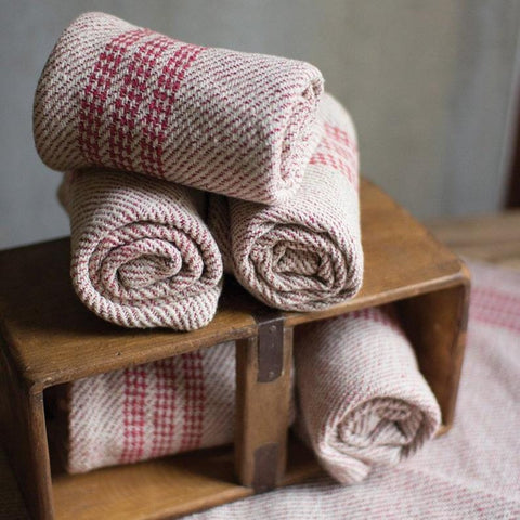 Robin Kitchen Towels ivory red cotton towel textile