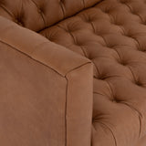 robinson camel leather tufted oak sofa