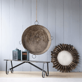 Round Zinc Tray grey rust finish trendy industrial wall decor