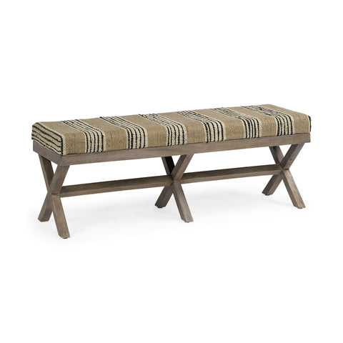 Sabra Bench beige upholstery black ivory lines grey indian mango wood frame