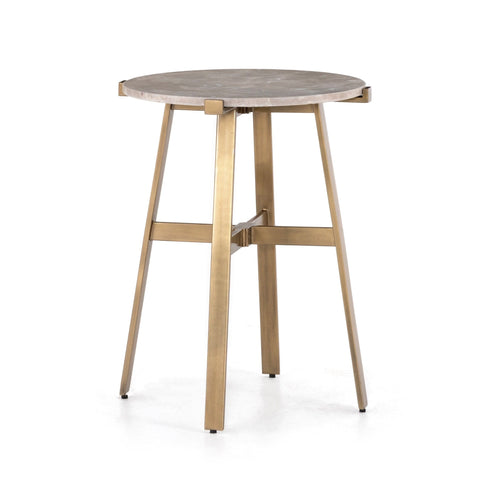 Salerno end table  in a Taupe Grey solid marble with iron frame in Antique Brass finish
