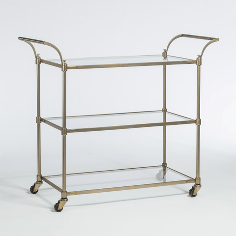 Breton antique brass metal glass bar cart