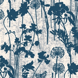 Faded Navy Floral Wallpaper