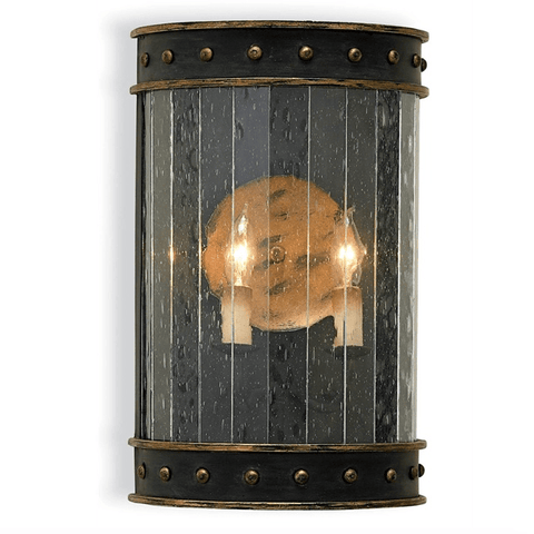 Warber Wall Sconce iron seeded glass black