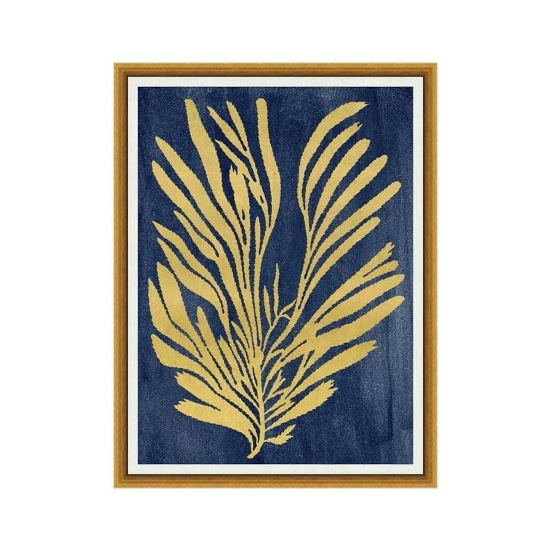 Sea Grass Artwork wood frame glass panel gold blue print