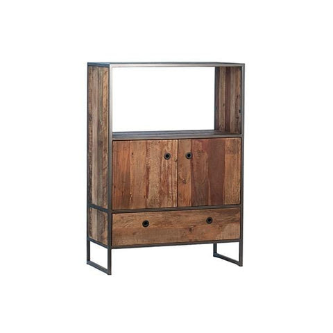 Senofo Cabinet brown reclaimed wood cabinets black metal frame