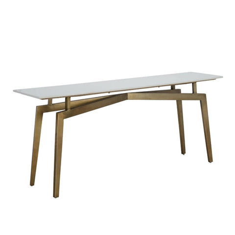 The Senoia Console Table, Marble, Iron, White, Brass