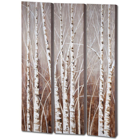 Set of 3 White Tree Wall Art
