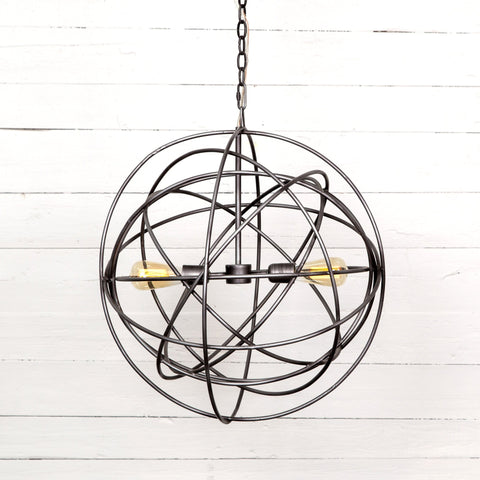 silver metal sphere chandelier 2 light