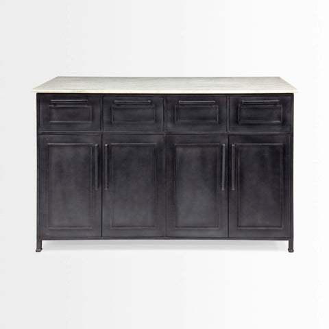 Stefani Kitchen Island black metal white marble