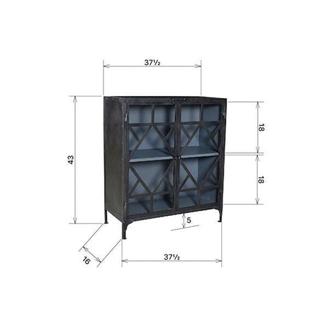 Strome File Storage gunmetal black iron frame glass panel office cabinet