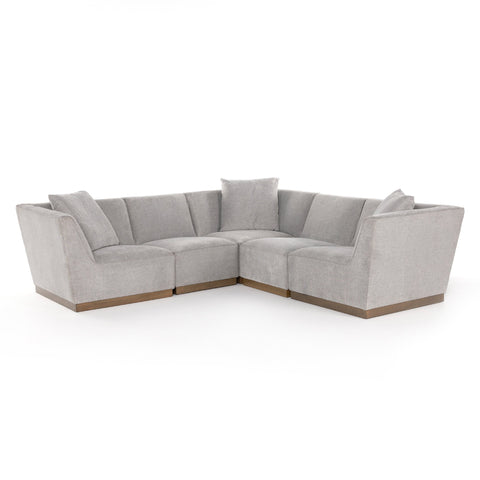 Sutton 5 Piece Sectional modular grey polyester cushions brown wood base high back front view