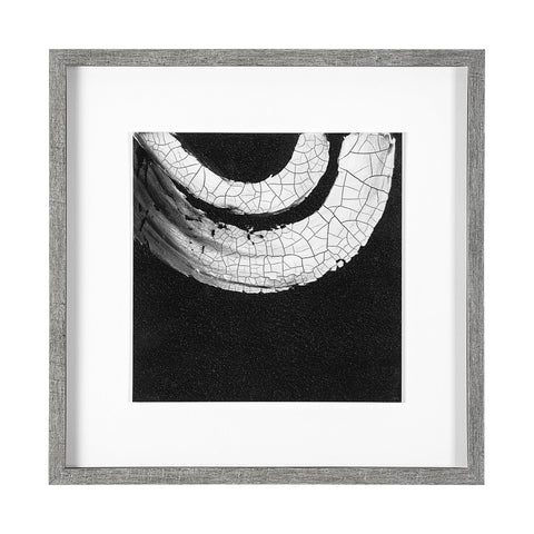 Swoosh Artwork made of grey wood frame with white and black canvas with glass
