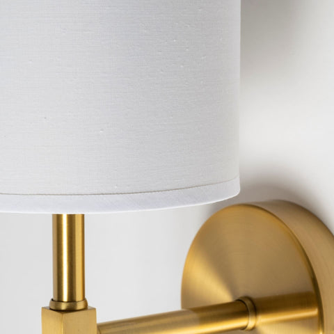 Sylvia Sconce gold metal white linen shade glam chic