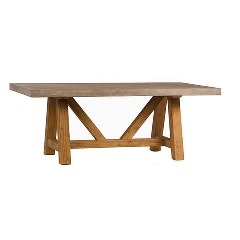 Salem concrete top wood base dining table 79