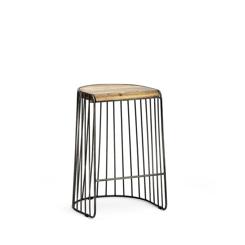 Trace stool light brown mango wood seat black iron frame trendy stool
