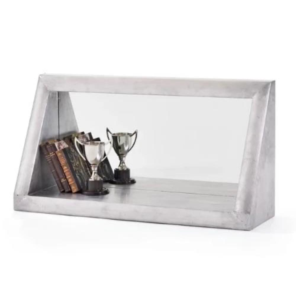Taper zinc wood wall mirror shelf