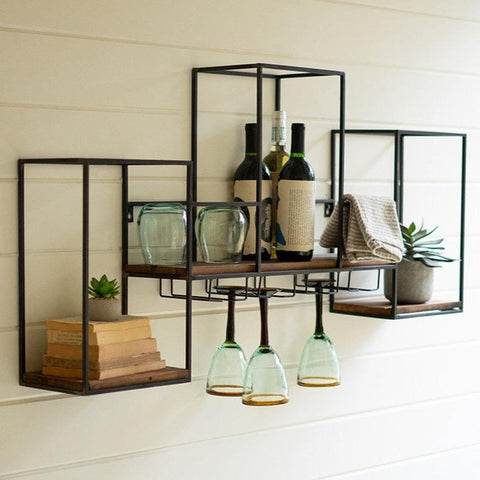 Thetis Shelf black metal frame brown wood shelf modern