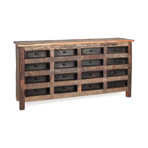 Timothy Dresser brown reclaimed wood frame black metal drawers