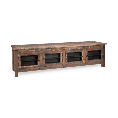 Timothy Media Cabinet brown reclaimed wood frame black metal drawers