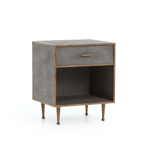 Titus Nightstand resin exterior iron details brass grey finish front