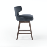 Toronto Bar + Counter Swivel Stool blue velvet wood