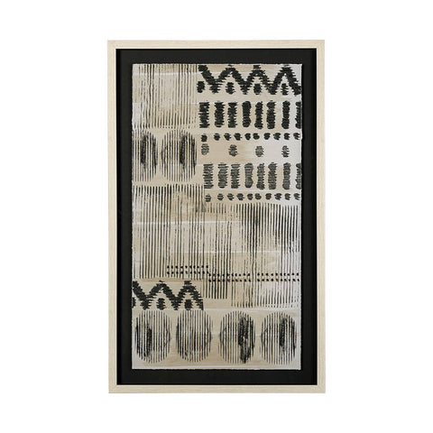 Tribal Artwork silk canvas cream frame black accents