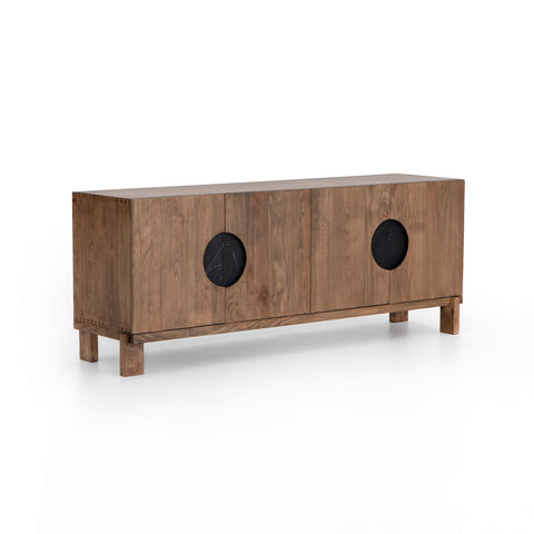 Ursa Sideboard solid brown beech solid black marble modern sustainable furniture front view