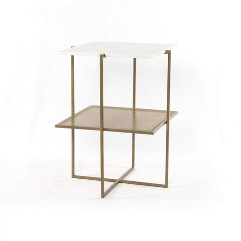Verlean Nightstand front white sqaure marble top brass holed shelf iron brass base modern sustainable furniture