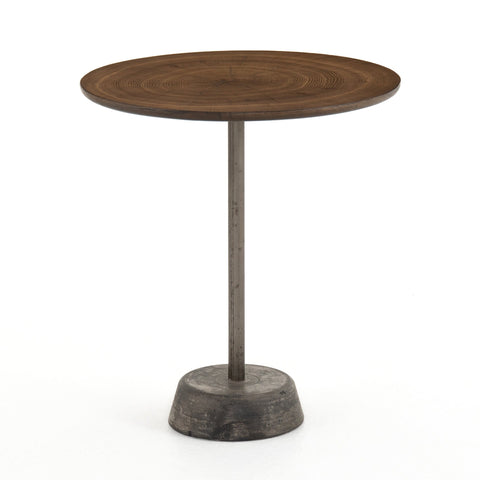 Vero End Table is made of brown Oak Wood and gunmetal grey Iron and Concrete