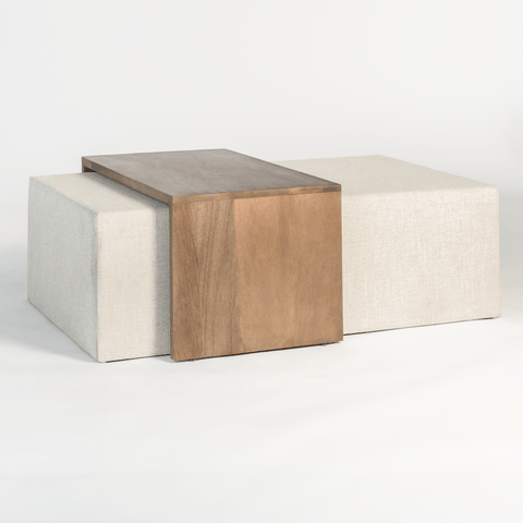 Wendal Ottoman white upholstery tan birch wood nesting table modern
