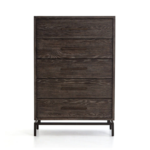 Wesley Dresser in Grey and Rustic Brass Frontview