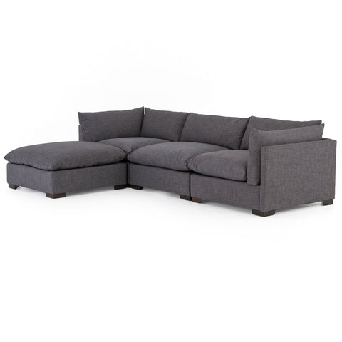 Wilcox 3-Piece Sectional + Ottoman Charcoal Angled Frontview